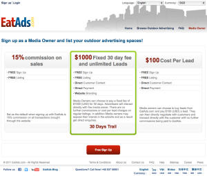 EatAds is providing 30 Free day trial for its $1000 media owner option